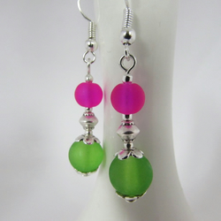 Receive 50% off with code SALE17 Green & Hot Pink Earrings, Hot Pink , Green