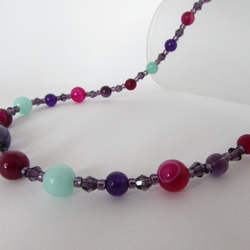 Amethyst, Agate, Quartzite & Sterling Silver Necklace, Amethyst  Jewellery