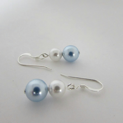 Pearl & Sterling Silver Earrings. 'Something Blue'  (Item no. 405-6). Blue Pearl