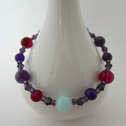 50% off all items with code SALE17 Amethyst, Agate, Quartzite & Silver Bracelet