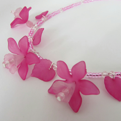 Receive 50% off with code SALE17 Flower Necklace, Fuchsia & Pink Necklace