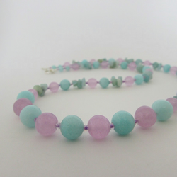 50% off everything with code SALE17 Amazonite, Lilac Quartzite Necklace