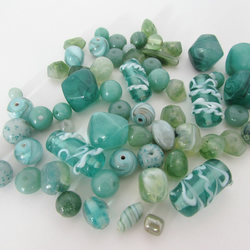 Green Beads. Mixed bag of Pale Green Beads, Green Beads for Jewellery Making