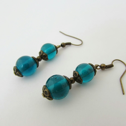 50% off all items with code SALE17 Teal & Bronze Earrings, Blue-Green Earrings
