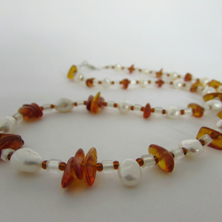Receive 50% off with code SALE17 Baltic Amber & Freshwater Pearl Necklace