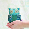 Handmade Mini Owl Soft Toy, Desk Buddy, Shelf sitter in Green & Blue - Small