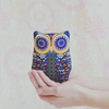Handmade Retro Owl Cuddly Toy, Cushion, Shelf sitter in Purple & Yellow - Small
