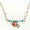 (Reserved for Lynda) Rose Gold Plated and Aqua Swarovski Crystal Necklace