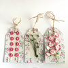 Pink & Cream Flowers Gift Tags - set of 3