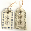 Reduced - Silver Bells & Snowflake Cream Christmas Gift Tags (set of 2)