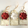 Red & White Flower Christmas Gift Tags - set of 3