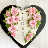 LOVE Wooden Heart with Faux Fabric Pink Roses