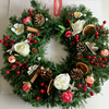 Faux Xmas Wreath with Flowers, Berries, Pine Cones, Cinnamon Sticks (16x16 inch)
