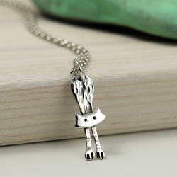 Sterling Silver Hanging Cat Necklace