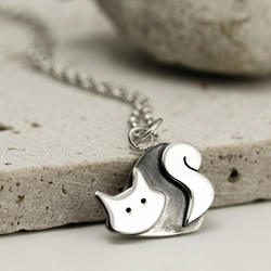 Kitty Cat Necklace in Sterling Silver