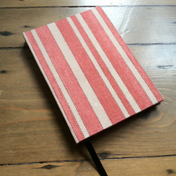 Small Handbound Notebook Covered in a Striped Fabric