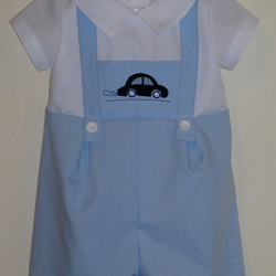 Romper suit with motor car applique