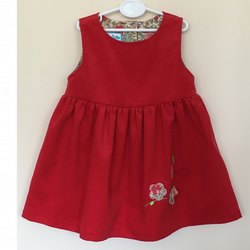 Needlecord Pinafore Dress with 3D Flower applique