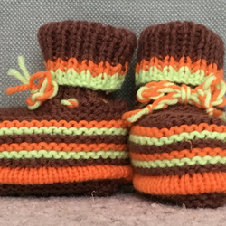 Hand Knitted Striped Baby Bootees