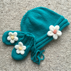 Teal Flower Beanie with Matching Mittens