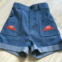 Denim Shorts with Car Applique