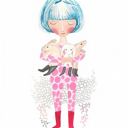 Blue hair girl and a bundle of bunnies a4 print 8 x 11 inches nursery art