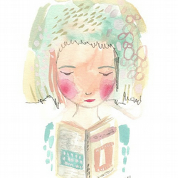 I love reading girl art print