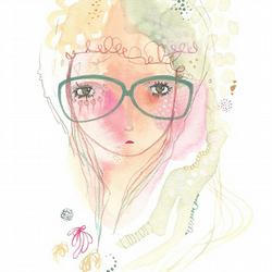 Glasses girl print hipster abstract art