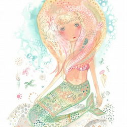 Mermaid art print a4 wall decor