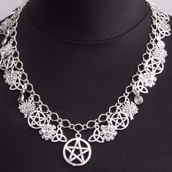 Pagan Wicca Silver Green Man Beltane Charm Necklace - Sanguine Rose Designs