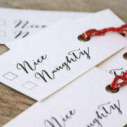 Naughty or Nice Christmas Letterpress Gift Tags