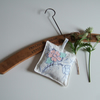 Lavender bag made from vintage tablecloth fabric, dried English lavender.