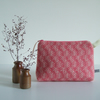 Handmade pink woollen make up or toiletries bag with zip