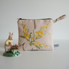 Vintage embroidery purse or make up bag with Mimosa flowers design.