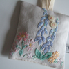 Vintage floral embroidered lavender bag with dried Yorkshire lavender.