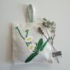 Vintage daisy embroidery lavender bag with dried Yorkshire lavender. Large.