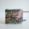 Vintage embroidery cottage garden special occasions purse or make up bag.