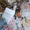 Pack of vintage fabrics and haberdashery sewing inspiration.