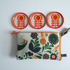 Pouch, purse or make up bag in vintage Scandi print.