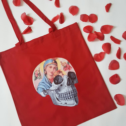 Virgin Mary Red Tote Bag