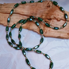 Long deep green bead rope necklace (N39)