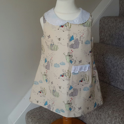Girls Peter Rabbit dress with  broderie anglais collar and pocket age 2 years