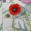 RED POPPY PIN Red Wedding Corsage Remembrance Lapel Flower Brooch HAND PAINTED
