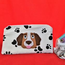 DOG - Paw Print Pencil case with Applique brow DOG - cute