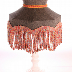 Brown lampshade handmade in tweed fabric in crown shape with long tassles