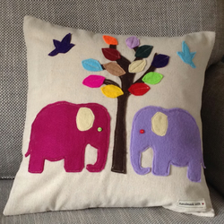 Elephant applique cushion