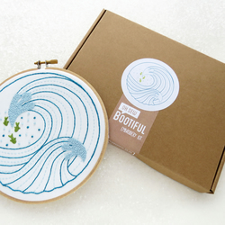 Waves Embroidery Kit, Modern Sea Needlework Pattern. Hoop Art Kit.