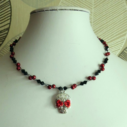 Sugar SKull Pendant Necklace Red & Black Beaded DAY OF THE DEAD