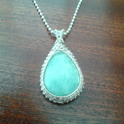 Amazonite wire weave necklace pendant