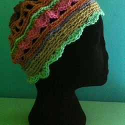 Unique Handmade Crochet Hat - purples, pinks, teal, grey-brown